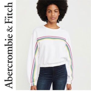 🎉HP🎉NWT A&F Striped Tape Relaxed  Sweatshirt